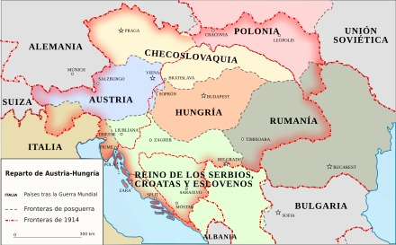 Mapa del ex Imperio Austro-Hungaro